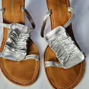 Chinese Laundry silver leather wedge heel sandal